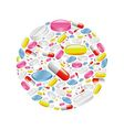 pills and capsule in circle vector image vector image