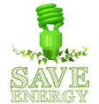 Save energy sign with lightbulb and plant vector image vector image