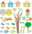Set birds with birdhouses owls trees and flowers vector image
