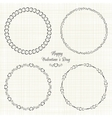 set circle cute frames for st valentines vector image vector image