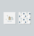 set hand christmas greeting card and winter vector image vector image