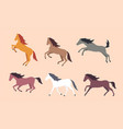 set of colorful horses vector image vector image