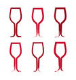 Set of hand-drawn simple empty wineglasses vector image vector image
