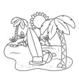 summer and beach cute cartoons in black and white vector image