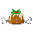 surprised christmas pudding on dinning table vector image vector image