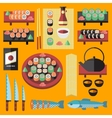 sushi and Japanese food icons set vector image vector image