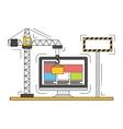 Thin line flat design of website under vector image vector image