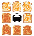 toasted bread slices and toaster vector image vector image