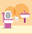 Toilet bowl washbasin and paper cartoon bathroom