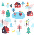 winter pattern with people and cottage houses vector image vector image