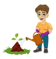 young boy watering a plant vector image vector image