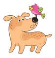 dog with bird cartoon character vector image