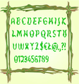 Alphabet made of leaves fonts in a frame vector image