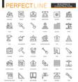 Building and construction thin line web icons set