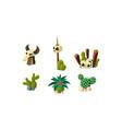 cactuses human and buffalo skulls set design vector image