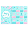 calendar 2018 in marine style sea life week vector image