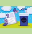 campaign podium microphones politics election vector image