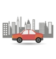 car sedan city background design vector image vector image