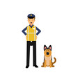cartoon flat police officer in high visibility vector image vector image