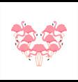 cartoon pink flamingo cute heart love flamingo vector image vector image