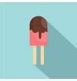 choco ice cream icon flat style vector image
