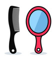 comb and mirror design vector image vector image