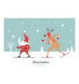 cute christmas gnome and christmas deer ski vector image vector image