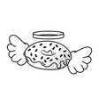 donut with wings black and white vector image