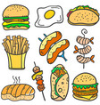 doodle of food delicious collection vector image vector image