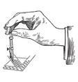 drop pen vaping design vintage engraving vector image vector image