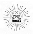 enjoy little things - inspirational quote vector image vector image