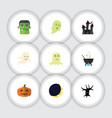 flat icon festival set of monster crescent magic vector image vector image