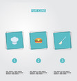 flat icons fast food soup spoon chef hat and vector image