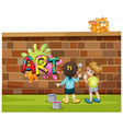 font design for word art with kids painting on vector image