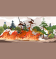forest fire burning spruces and oak trees wood vector image vector image