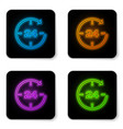 glowing neon clock 24 hours icon isolated on vector image