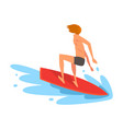 Guy surfer character riding waves recreational