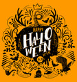 halloween lettering on yellow vector image
