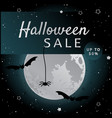 halloween sale background with bats and fool moon vector image