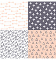 hand drawn abstract seamless pattern set simple vector image