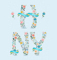happy new year floral letters with blue ribbons vector image