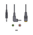 headphone jack and cable connector set isolated