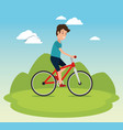 healthy lifestyle man riding bike design vector image vector image