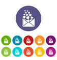 Heart letter icons set color