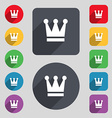 King Crown icon sign A set of 12 colored buttons vector image vector image
