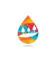 landscape drop water design logo vector image vector image