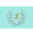 Laurel wreath icon with number One vector image