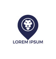 lion and map pointer logo design vector image vector image
