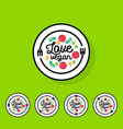 logo love vegan cafe or restaurant emblem vector image