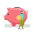 man holding gold coin pig saving assets client vector image